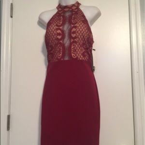 Sequin Hearts mock Neck lace Sheath dress